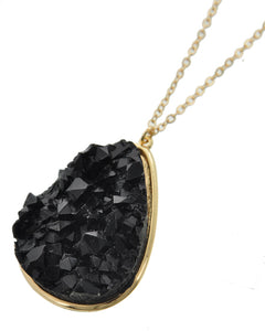 Black Acrylic Druzy Teadrop Long Necklace Gold Tone