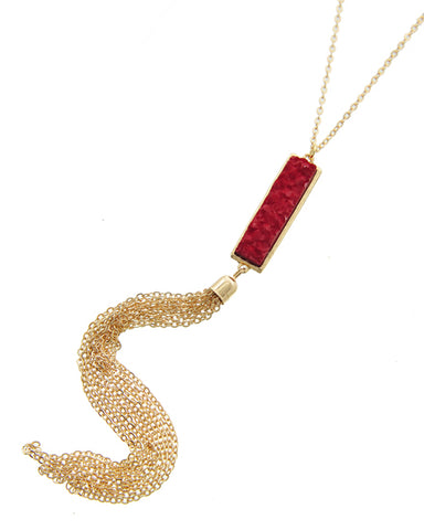 Red Rectangular Acylic Druzy Gold Tone Tassel Necklace