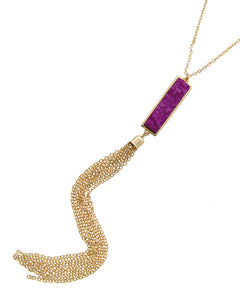 Purple Fuchsia Rectangular Acylic Druzy Gold Tone Tassel Necklace