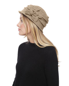 Beige Flower Wool Warm Bucket Hat