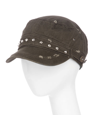 Brown Studded  Cadet Hat