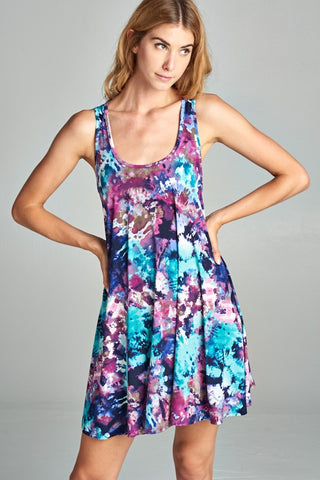 You Are My Sunshine Tie Dye Racerback Tank Dress in Violet & Blue