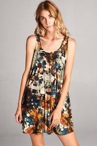 You Are My Sunshine Tie Dye Racerback Tank Dress in Olive