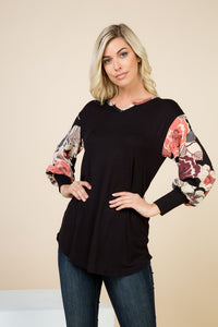 Fun Floral Black V-Neck Top