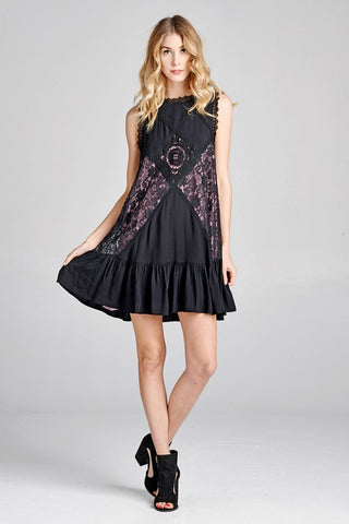 Lacey La Serena Dress in Black & Lavender