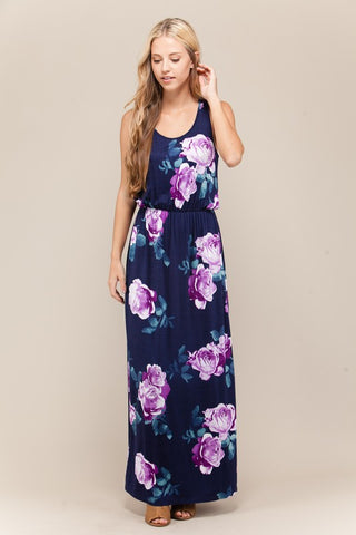 Purple and Navy Racerback Tank Floral Maxi Dress