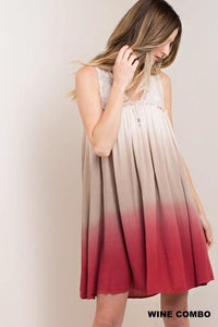 Wine & Taupe Ombre Lacey Boho Sleeveless Dress