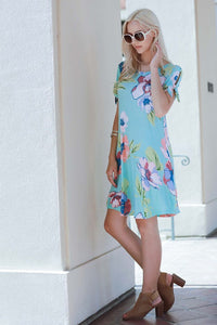 Take Me To The Islands Floral Dress With Shoulder Ties and Pockets