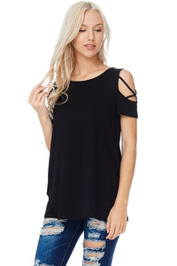 Everybody's Favorite Tee - Criss Cross Sleeve Top in Black S - XL