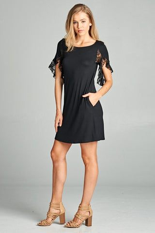 Dance The Night Away Black Jersey Dress With Lace and Pockets