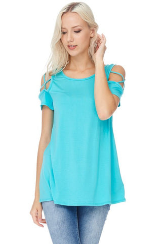 Everybody's Favorite Tee - Criss Cross Sleeve Top in Ocean Blue S - XL