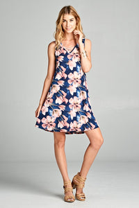 A Work of Art Watercolor Floral Dress Criss Cross Neckline