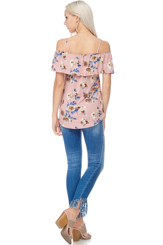 cebe924f1ce3b ... Spaghetti Strap Off Shoulder Floral Top in Mauve. Juliette s Jewels