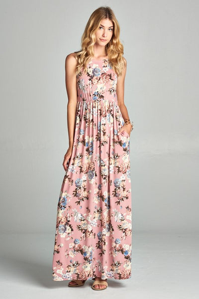 So Sweet Romantic Pink Floral Sleeveless Maxi Dress With Pockets