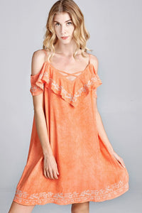 Take Me To Tucson Open Shoulder Summer Dress in Denim Coral