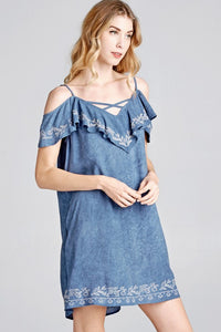 Take Me To Tucson Open Shoulder Summer Dress in Denim