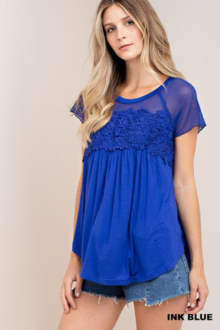 Fun Short Sleeve Top With Floral Design and Mesh Accent in Royal Blue