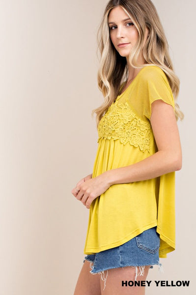 Fun Short Sleeve Top With Floral Design and Mesh Accent in Honey Yellow