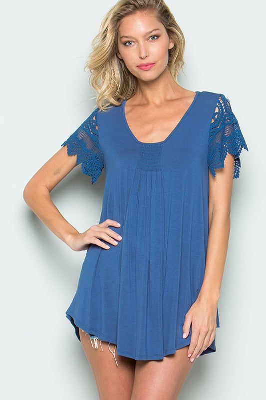 Cute Crochet Short Sleeve Top in Blue