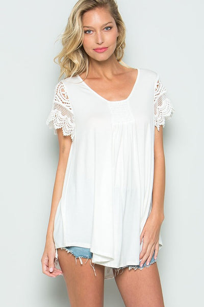 Cute Crochet Short Sleeve Top in White