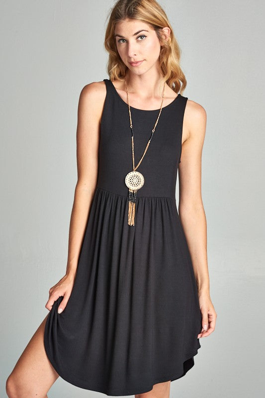 Jersey Short Sleeveless Empire Waist Dress in Black
