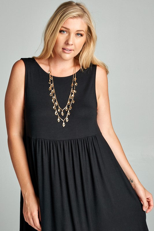 0c36464578ee ... Jersey Short Sleeveless Empire Waist Dress in Black. Juliette's Jewels