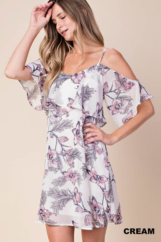 f2f94841b41609 Cold Shoulder Floral Dress With Ruffle Accent – Juliette s Jewels