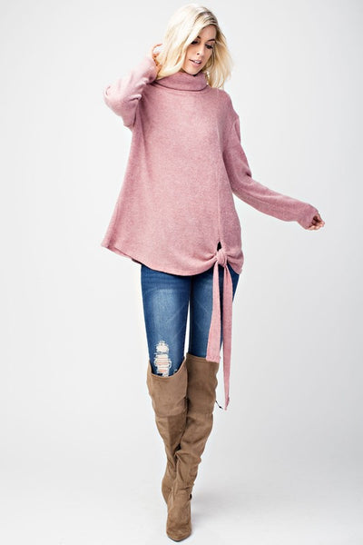 Perfect Day Mauve Knit Sweater With Tie