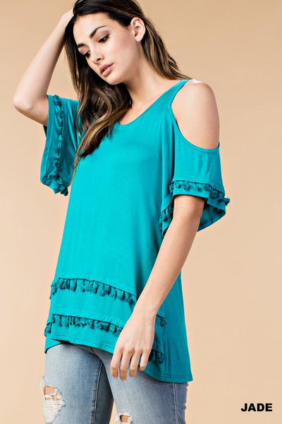 Turquoise Tassel Fringe Cold Shoulder Top