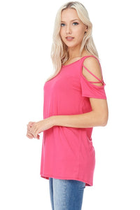 Everybody's Favorite Tee - Criss Cross Sleeve Top in Raspberry S - XL