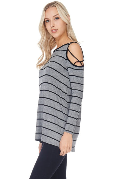 Long Sleeve Gray & Black Criss Cross Striped Top