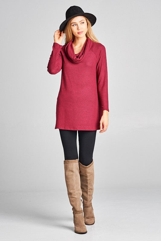 Soft As A Cloud Burgundy Hacci Tunic Top With Side Slit Burgundy S - 3X