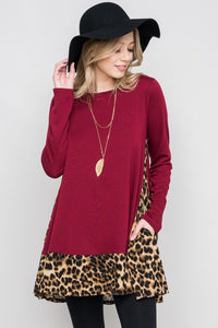 Feisty Animal Print Burgundy Tunic Swing Top With Pockets S - XL