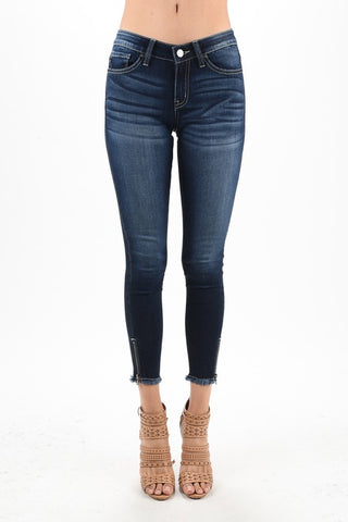 KanCan Ankle Jeans Dark Denim Frayed Bottom with Ankle Zippers
