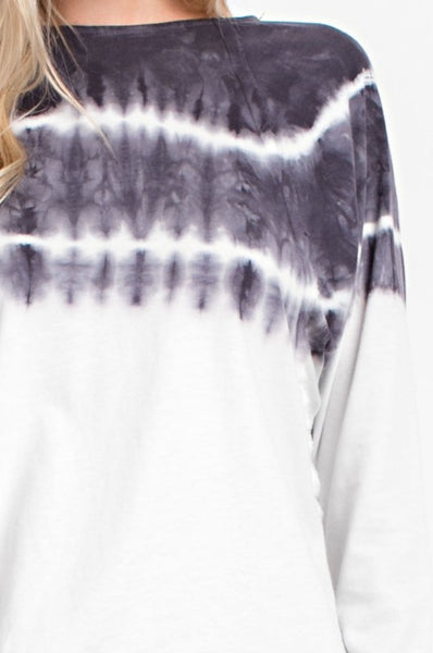 Tie Dyed Long Sleeve Jersey Top in Denim
