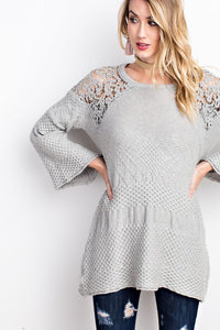 Drapey Asymmetrical Crochet Spring Sweater in Heather Grey