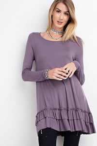 Sweetheart Double Ruffle Purple Tunic Top Available S - 3X