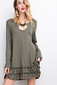 Sweetheart Double Ruffle Olive Tunic Top