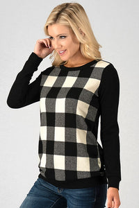 Buffalo Plaid Check Knit Sweater in White