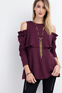 Perfect Plum Ruffled Open Shoulder Long Sleeve Top
