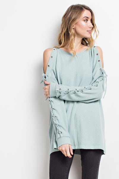 Lovely Lace Up Super Soft Sage Top