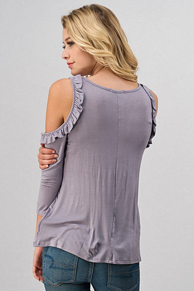 Lovely Lavender Ruffled Open Shoulder Top