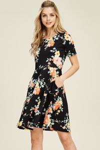 A Walk In The Park Floral Black Dress With Pockets