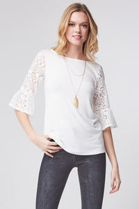 Love It In Lace White Bell Sleeve Top