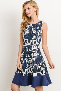 Classy As Ever Navy & White Floral A Line Sleeveless Dress