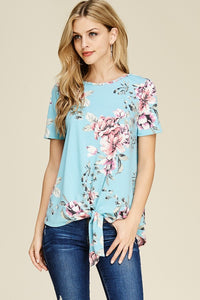 So Sweet Baby Blue Pink Floral Front Tie Short Sleeve Top