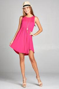 Jersey Short Sleeveless Empire Waist Dress in Hot Pink