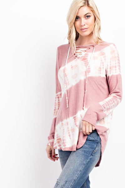 Mauve Tie Dyed Hacci Brushed Top With Lace Up Neckline
