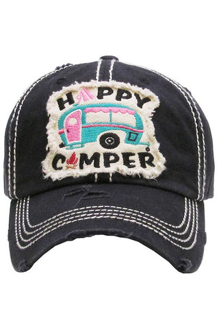 Happy Camper Vintage Baseball Cap