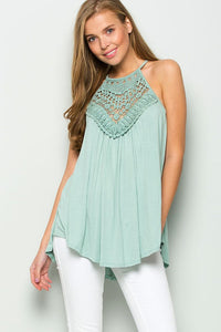 Crochet Detail Top With Keyhole Back in Sage